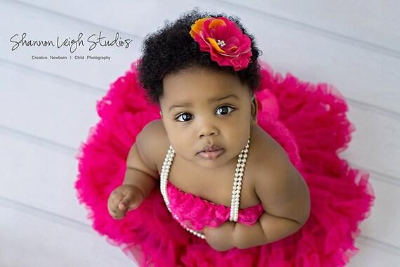 Baby Headband Hot Pink And Orange Flower Headband Newborn Toddler Girl Photo Prop
