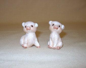 Piglets, ceramic miniature piglets, set of 2 piglets