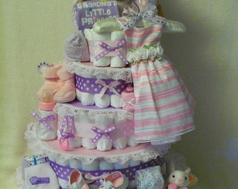 Baby Girl 5 tier Diaper cake - shown with upgraded dress and shoes - an adorable baby shower gift - made to order