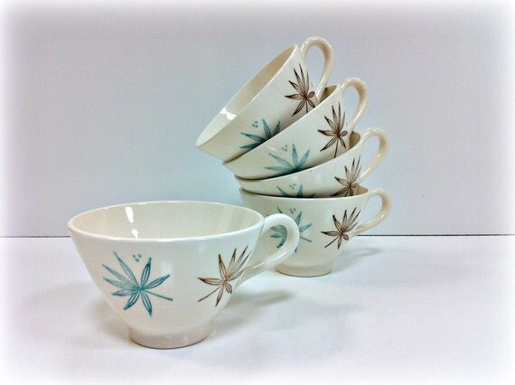 Mid Century Tea Cups Coffee Mugs