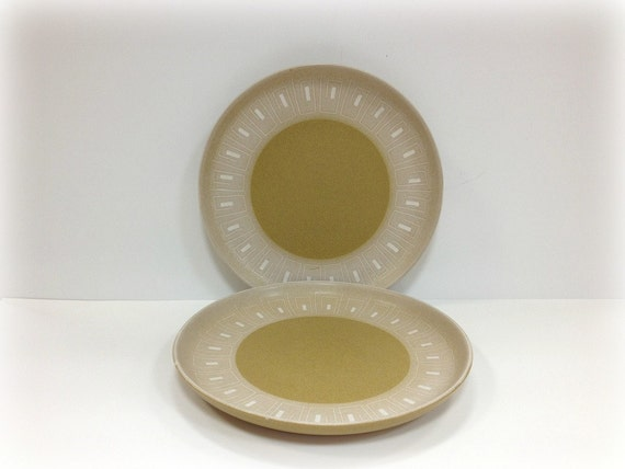 Denby Ode Dinner Plates  Mid Century Modern Tan Brown