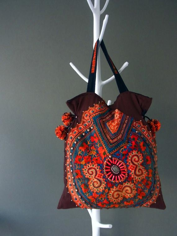 Ethnic Applique Tote, Special Large // beading // folk // tribal // traditional // primitive // artiisan