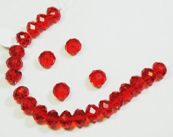 Rondelle Beads RED 10x7mm 24 pcs Chinese Crystal