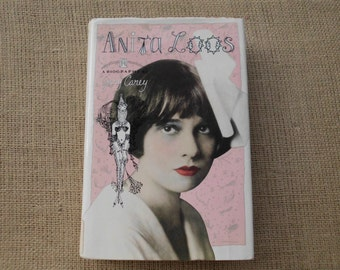 Vintage Book Pink Black White Anita Loos Biography Shabby Chic French Country Paris Apartment Romantic Old Hollywood Wedding Decor Gift Her