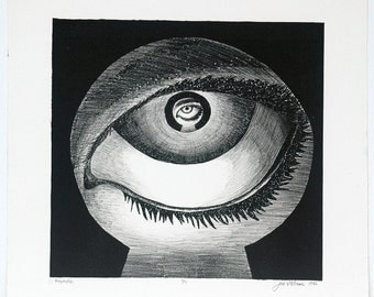 Keyhole Eyeball - Black and White Lithograph 1 of 7