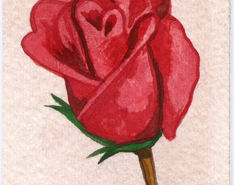 ACEO Red Rose Watercolor