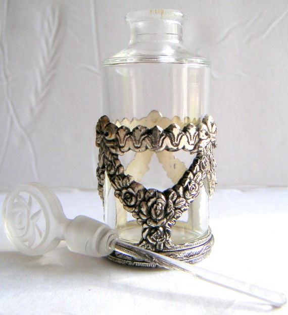 Vintage Perfume Bottle with Glass Dauber. Small Perfume Bottle