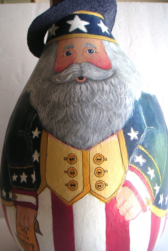 Vintage Gourd, Hand Painted, July 4th, Uncle Sam, Folk Art, July 4th Decoration,Stars and Stripes, Red White and Blue