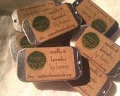 Vanilla Lavender Vegan Lip Balm, Essential Oil Lip Butter