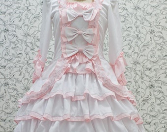 Princess Lolita Ruffle Dress Ribbon Wedding Dress