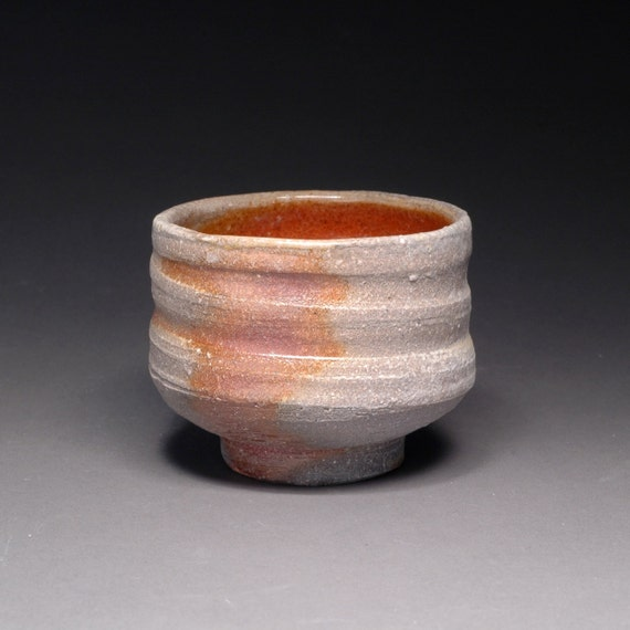 Small Brown and Gray Wood Fired Guinomi Japanese Sake Cup with Orange Shino Liner, Made with North Carolina Clay