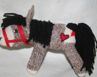Handcrafted Mini Sock Monkey Horse/ Pony