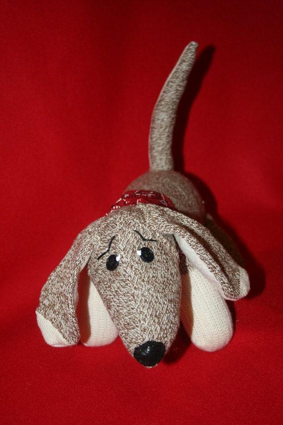Handcrafted Sock Monkey Dachshund Puppy Dog