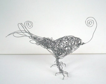 Sale - Handmade Wire Bird Sculpture - Silver DUAL SPIRAL Bird - Photo Holder