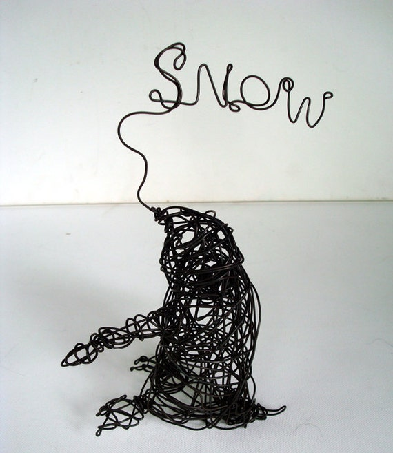 SALE - Chilly Le Bon - Unique Wire Penguin Sculpture that says SNOW