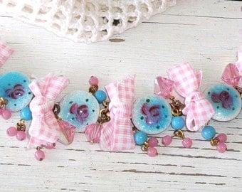 "Handmade GUILLOCHE Bracelet ""Gingham & Guilloche Picnic"" Vintage Components, LG Pink Swarovski, Perfect OOAK Spring/Summer Bracelet!!"