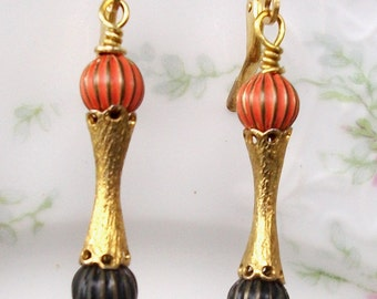 """Handmade Vintage EARRINGS Perfect Halloween Colors - SALE! - Classic Chic, Enameled Balls, '60's Style- """"Cocktail Hour"""" All VINTAGE Parts"""
