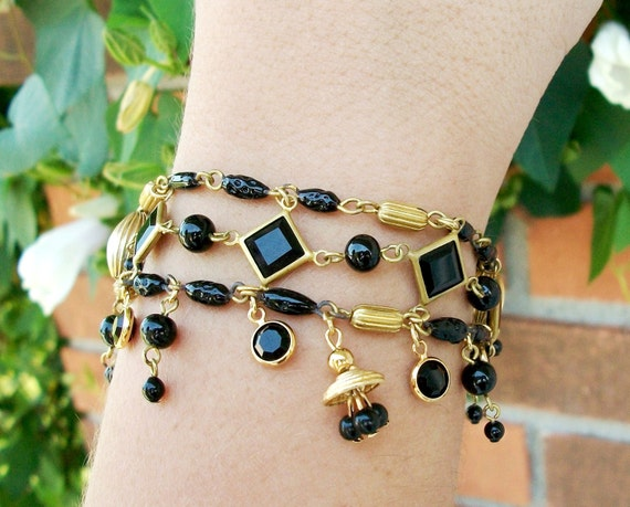"HANDMADE Glass SET,  Black Beaded Necklace Bracelet Drop Earrings,  Vintage Components & Swarovski Stones, ""Back in Black"""