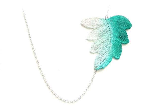 Lace Necklace Green and White Leaf Ombre Hand Painted in Customizable Colors