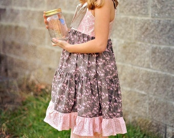 Kailey Dress - Pink and Ivory Damask with Grey Knot Twirly Tiered Dress Easter Spring