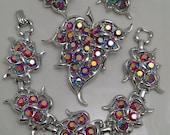 Vintage Sarah Coventry Rhinestone Parure Set Red Aurora Borealis Bracelet Pin Earrings