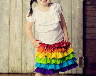 Back to School Outfit, Girls Rainbow Skirt, Children's Clothing, Summer fashion, First Day of School Outfit