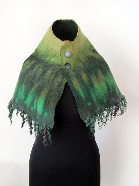 RESERVED for Marie, Mysterious forest capelet in shades of green, unique one-of-a-kind OOAK