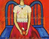 "Frida  Art, Postcards, Art Prints, ""Aqui Te Espero,"" Heart in Hand, Portraits, Mexico, Latin"