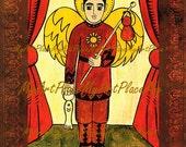 """Postcards, Prints, Saint Raphael, """"Patron of Spiritual & Physical Health,"""" Religious Icon, Folk Art, New Mexico, Retablo"""