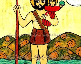 Saint Christopher, Patron of Travellers, New Mexico Santo, Retablo, Mexico, Icon, Religious Art, Catholic Art, Christian Art, Postcards
