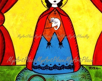 Catholic Art,  Saint Gertrude, Patron of Cats and Herbalists, Religious Icon, Mexican Art, New Mexico, Art Postcard, Folk Art Cats, Herbs