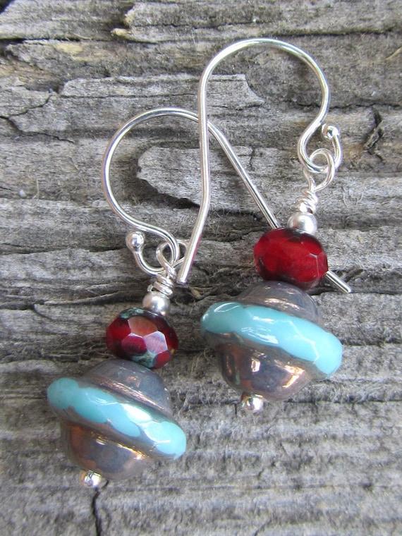SALE /// Sterling silver czech glass earrings red and aqua - Deep sea - SUMMER SALE