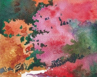 Watercolor Print Autumn Walk, Fall Colors Art by Alicia VanNoy Call, Free Shipping