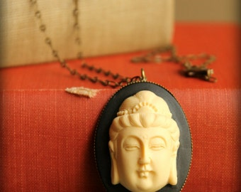Buddha Cameo Necklace in Black and Cream