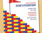 Modern Building Brick Birthday Party Printable Invitation