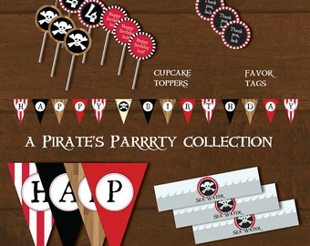 Pirate Party Decorations and Invitation Printable Birthday