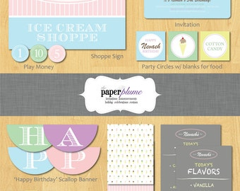Ice Cream Shoppe Party Printable Birthday Party with Invitation