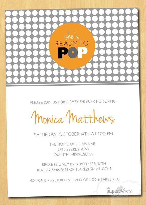 She's Ready to Pop Modern Baby Shower Invitation Printable