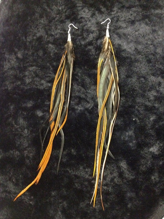Black & Brown Extra Long 10-12 inch Feather Earrings / Extensions