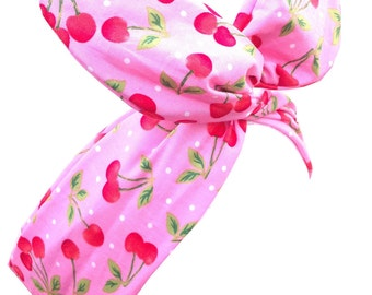 Pink with White Polka Dot & Red Cherry Print Wire Headband Hair Wrap -Pin Up - Rockabilly