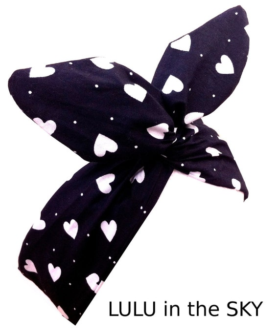 Rockabilly Wire Pin up Headband  Black with White Love Heart Print.. Hair Wrap