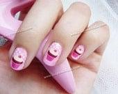 Pink Cupcake Nail Art in Full Nail Decals