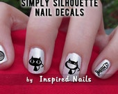 Bad Kitty Nail Decals Black and Clear Simply Silhouette by Inspired Nails