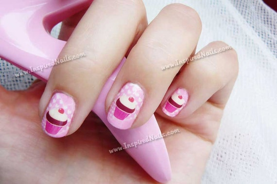 Pink Cupcake Nail Art in Full Nail Decals