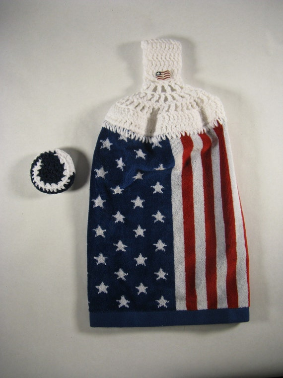 American Flag Kitchen Towel and Dish Scrubby Patriotic Red White and Blue