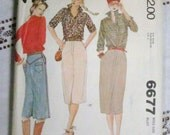 Vintage Jean Skirt and Shirt Pattern dated 1979 McCall's 6677 Misses Size 12