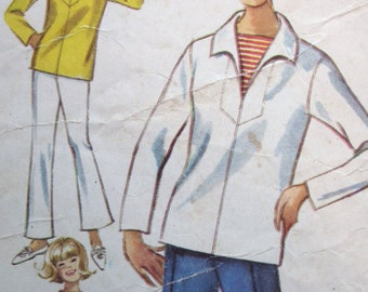 Vintage 1965 Bell Bottomed Pands and Front Laced Over Blouse Simplicity Pattern 6364 Misses size 12