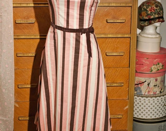 Vintage Pink and Brown Sweetheart Dress