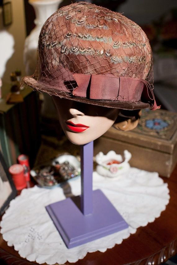 Vintage 40's Pheasant Feather Hat Half of SaLe was 64.00 now 32.00
