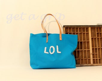 "Canvas Tote...""LOL"" CERULEAN tote bag with PERSONALIZED leather label"